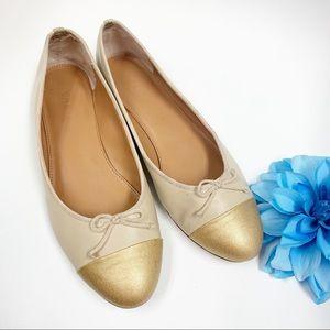 J. CREW Uptown golden cap toe ballet bow flat 8